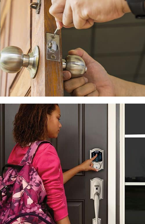 image of a standard door knob being installed (top) and a Smart Lock deadbolt being operated by a young woman (bottom)