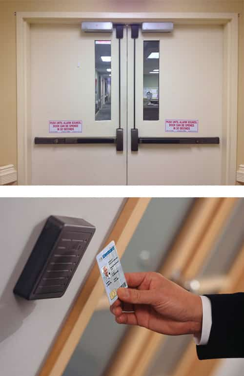 Commercial doors with panic bars (top) and access control system (bottom)